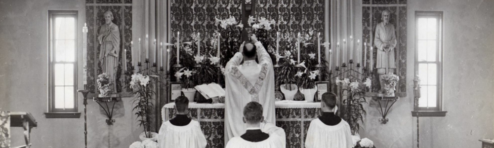 Mass being celebrated in the original church